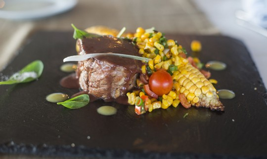 Veal fillet with warm salad of local corn