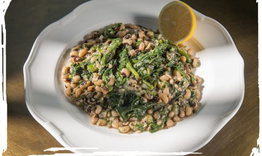 Black eyed peas with spinach and herbs